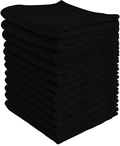 Luxury Cotton Washcloths (12-Pack, Black, 12x12 Inches) - Easy Care, Fingertip Towels, Facial Towelettes, Cotton Hand Towels - by Utopia Towels