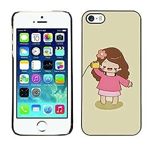 Híbridos estuche rígido plástico de protección con soporte para el Apple iPhone 5 / 5S - kid playing cute kid baby mother