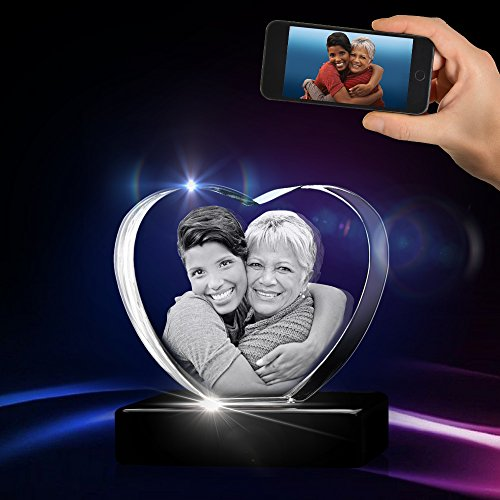(3D Heart Crystal with a Free LED Base That Illuminates The Crystal, Personalize with Your own Custom Engraving (Small Heart 3D Crystal))