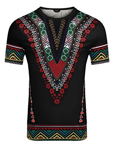 COOFANDY Mens African Print Shirt Dashiki Fashion Short Sleeve T Shirts Top Tee