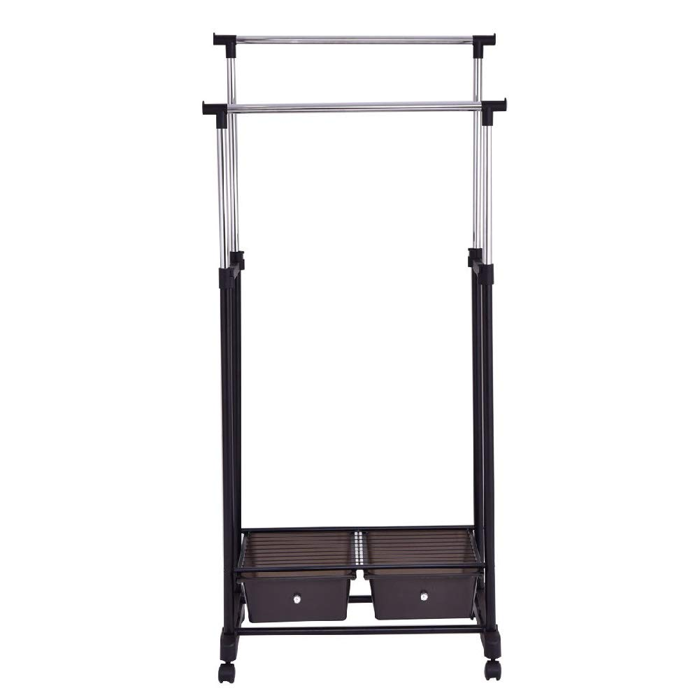 Drying Rack Towel Clothes Store Hanger Storage Stick Shelf Rolling Shelves Folding Drawers by Sgood (Image #2)