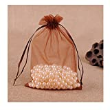 MELUOGE 100pcs 5X7 Inches Organza Drawstring Jewelry Pouches Bags Party Wedding Favor Gift Bags Candy Bags (Brown)