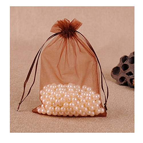 Brown Organza Bags (MELUOGE 100pcs 5X7 Inches Organza Drawstring Jewelry Pouches Bags Party Wedding Favor Gift Bags Candy Bags (Brown))
