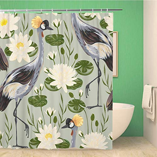 Awowee Bathroom Shower Curtain Watercolor Crane Bird and Water Lily Oriental Vintage 72x72 inches Waterproof Bath Curtain Set with Hooks