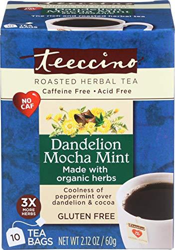 (Teeccino Dandelion Mocha Mint Herbal Tea Bags, 85% Organic, Gluten Free, Caffeine Free, Acid Free, 10 Count)