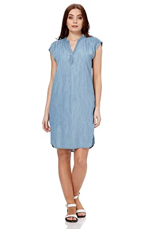 cff830e8085 Roman Originals Women V-Neck Denim Dress - Ladies Shift Cotton Boho Look  1990s Daytime Trendy Tunic Smock Fashion Soft Shirt  Amazon.co.uk  Clothing