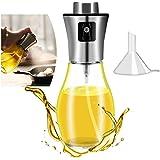 Sunnyac Olive Oil Sprayer for Cooking, Refillable Stainless Steel Oil Dispenser with Mini Funnel, Vinegar Glass Spray Bottle