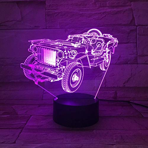 Zonxn Creative Old Jeep Car 3D Light Night Light 7 Colors Change Acrylic Led Table Lamp USB Light Bedroom As Gift for Decoration