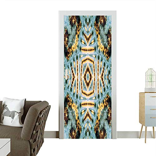 Door Sticker Wall Decals Close Hippie Motif with Maya Clan Figures Dirt Tones Counter Culture Print Easy to Peel and StickW36 x H79 INCH ()