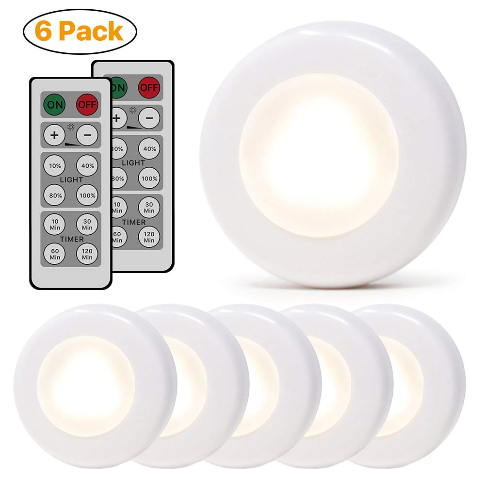 Wireless LED Puck Lights,Dimmable Closet Lights Remote Control Under Cabinet Lighting Battery Powered, Night Light, 4000K Natural White - 6 Pack