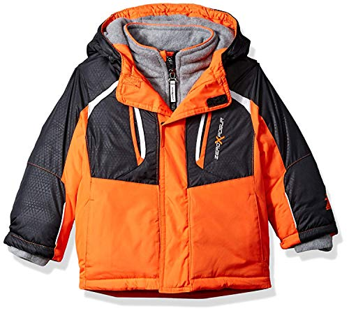 ZeroXposur Baby Boys Heavyweight Jacket, Baby Winter Coat (Zinnia Orange/Black, 18M)