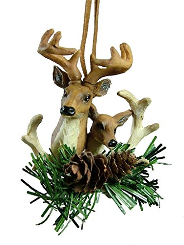 Deer Pair Head Pine Cone Hunting Hunter Camo Camouflage Christmas Tree Ornament -