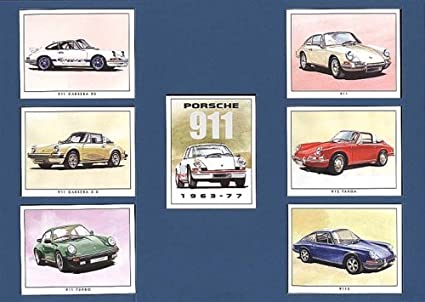 COCHE clásico Porsche 911, 912, Carrera, Turbo, en tarjetas