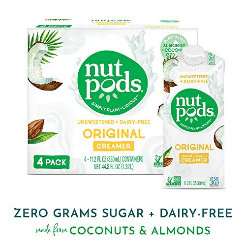 nutpods Original 4-Pack, Unsweetened Dairy-Free Creamer, Whole30, Paleo, Keto, Non-GMO and Vegan, for Coffee, Tea and Cooking, Made from Almond and Coconut (Silk Unsweetened Vanilla Almond Milk Nutritional Information)