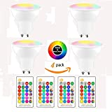 (4-Pack, Cool White) DDSKY GU10 8W RGBW LED Light Bulbs 16 Colors 4 Modes Flood Lighting Bulbs with IR Remote Control Decorative Lights for Home Party Indoor Outdoor Decor