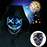 Halloween Scary Mask Cosplay, LED Costume Mask EL Wire Light Up Mask