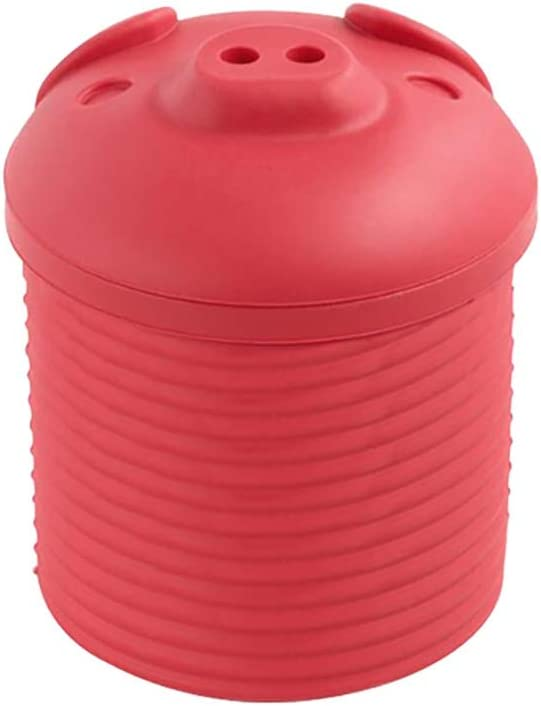 Sizet Kitchen Fat Storage Bacon Grease Container with Strainer Silicone Red Reuse Oil Keeper Strainer and Collector