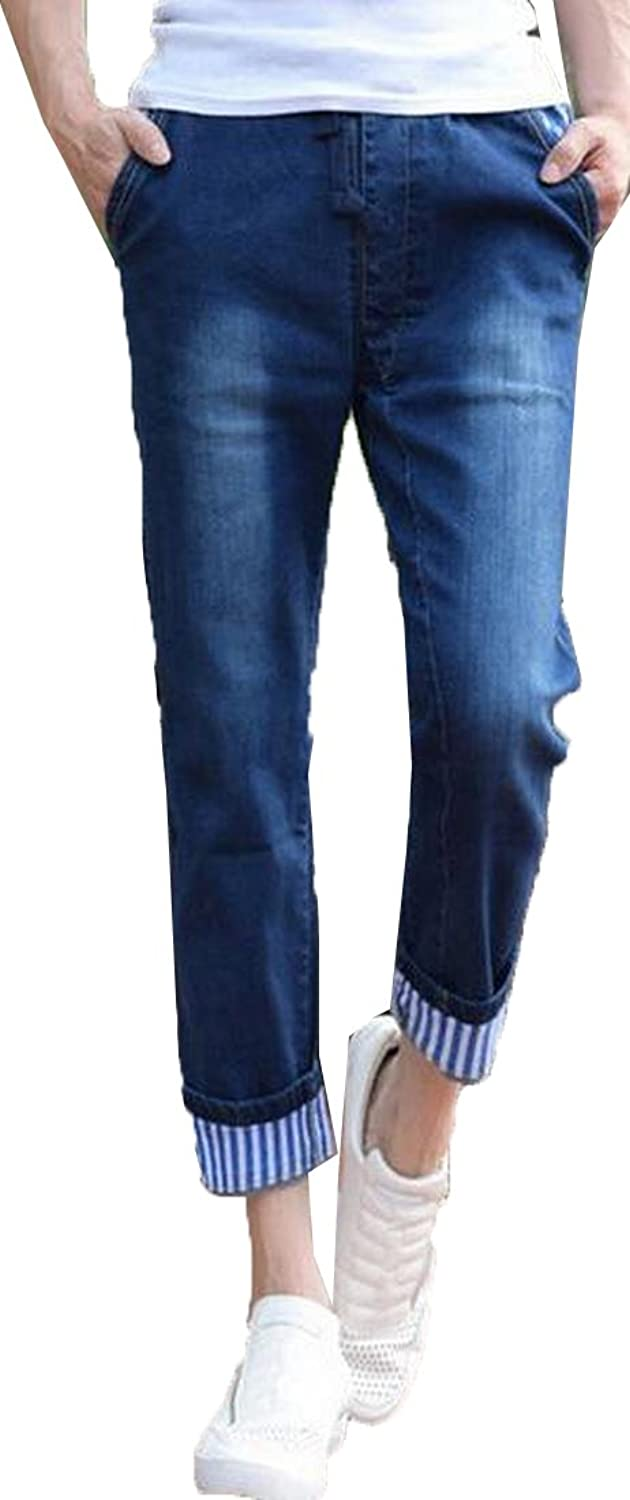 NQ Men's Slim Washed Rugged Wear Casual Fashion Comfort Denim Pants
