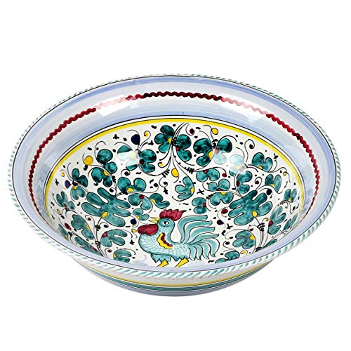 ORVIETO GREEN ROOSTER Large Serving Salad Pasta bowl