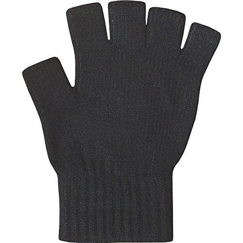 Damen Thermo-Handschuhe ohne Finger super weich warm fein gestrickt - Einheitsgröße, Schwarz