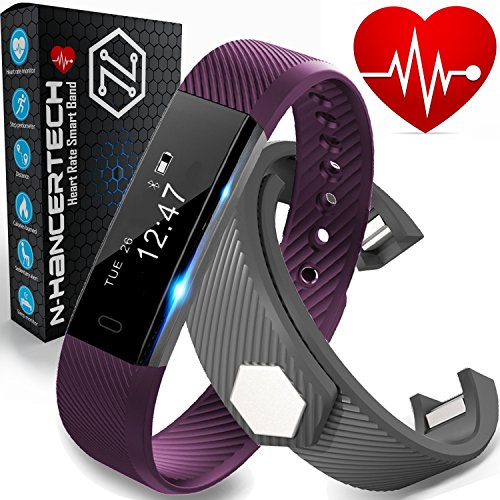 Fitness Tracker with Heart Rate Monitor - Smart Watch Pedometer Wristband - iPhone IOS and Android Bluetooth Compatible – Purple & Bonus Black Band - Water Resistant HR Walk Sports Sleep, N-HancerTech