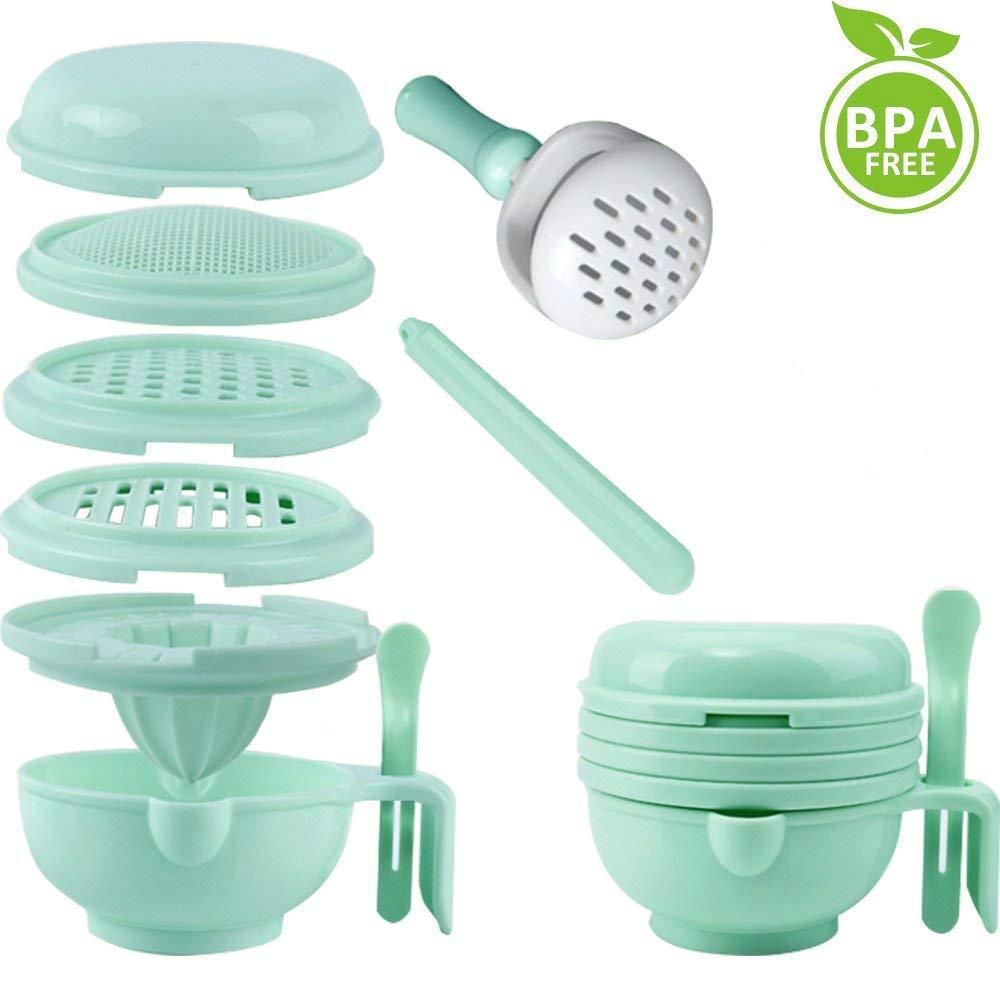 Five BEE 9 in 1 Upgrade Multifunction Manual Baby Food Masher Maker| Baby Feeder Food Processor Smasher Serve Bowl| Vegetables Fruit Ricer Supplement Grinder Tool Set