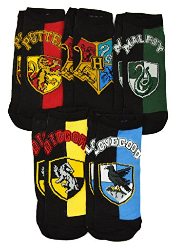 Harry Potter Hogwarts School Uniform Luna Cedric Draco Harry 5 Pack Ankle Socks (Hogwarts School Uniform)