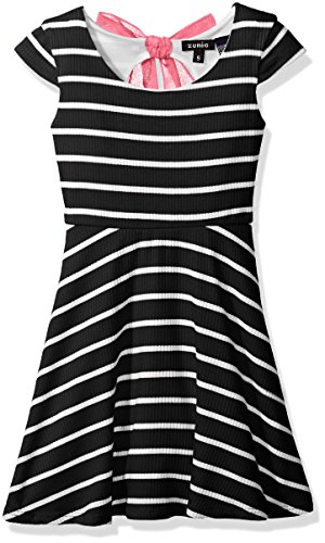 - ZUNIE Little Girls' Capsleeve Ribbed Striped Skater Dress with Chiffon Bow, Black, 5