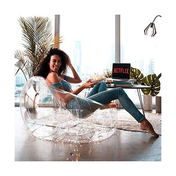 Flamingueo Canapé Gonflable – Fauteuil Gonflable, Canapé Gonflable, Chambre Pouf Salon, Pouf Poire, Décoration Chambre, Fauteuil Chambre, Pouf géant, 100x110x76 cm (Argent)
