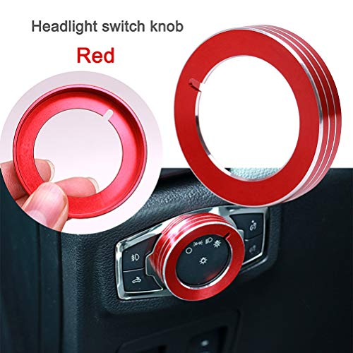 Aluminum Alloy Headlight Lamp Control Button Knob Switch Cover Ring Cover Trim for Ford Mustang F150 2015-2016 (Red)