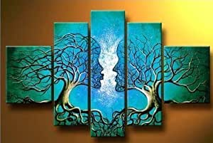 Unixtyle-100% Hand Painted Oil Painting on Canvas Blue Lovers Tree Kiss Wood Framed on the Back Abstract Landscape Wall Art Painting Ready to Hang Modern Home Decoration 5 Pcs/set