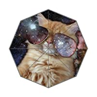 Cool Cat Wear Galaxy Sunglasses Outer Galaxy Space Pattern 100% Fabric And Aluminium High-Quality Foldable Umbrella