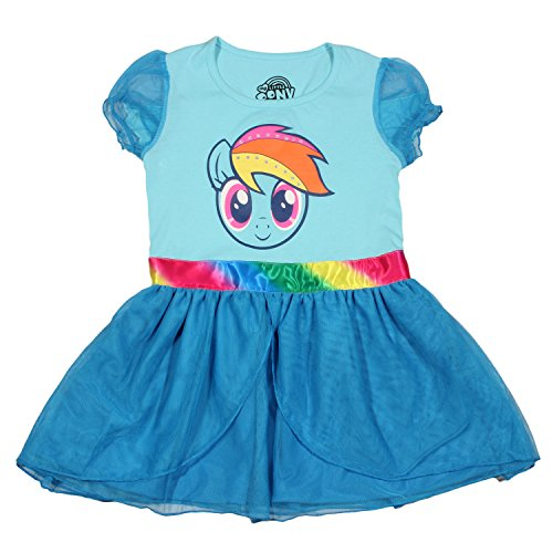 My Little Pony Little Girls' Rainbow Dash Tulle Costume Dress, Light Blue/Dark Turquoise, Medium/5/6