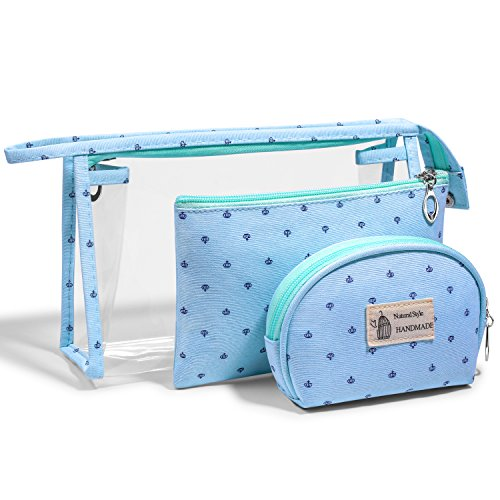 LazyBear PVC Cosmetic Bag Set Kit for Women, Mint Green Large Plastic Makeup Bag Set, Clear Transparent Portable Travel Toiletry Bag Waterproof Bathroom, Pouch Organizer Makeup Case