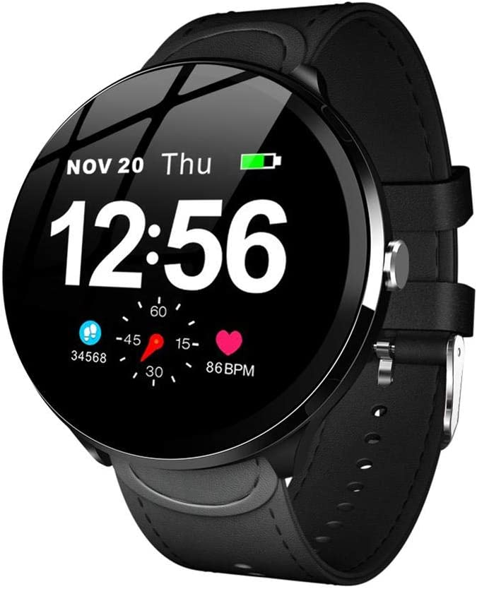 True-Ying Reloj inteligente para Android IOS LEMFO V12 de 1,3 pulgadas con control de presión arterial y oxígeno, monitor de frecuencia cardíaca, pulsera de fitness resistente al agua