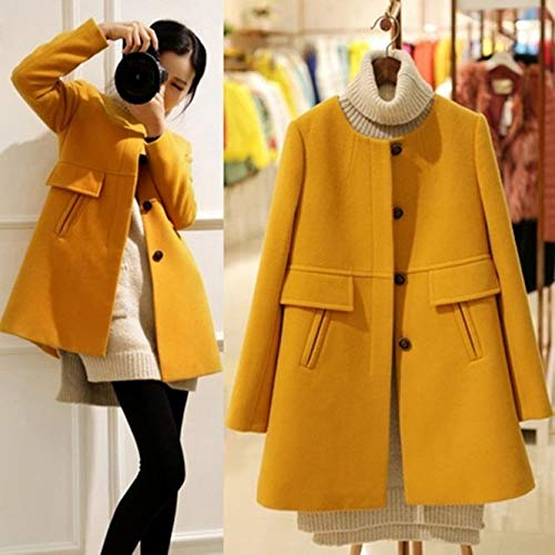Leijing Winter Oversize O-Neck Medium-Long Wool Coat Women Slim Thickening A-line Trench Jacket Red 2XL