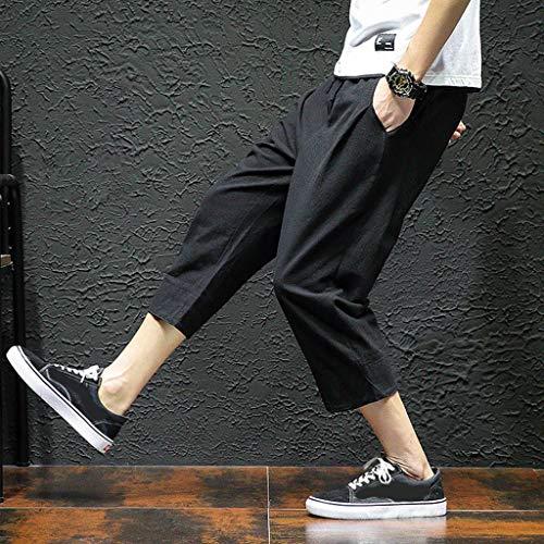 Allywit Men's Loose Fit Elastic Waist Patchwork Shorts Harem Capri Pants Lounge Linen Harem Pants Big and Tall Black by Allywit-Pants (Image #3)