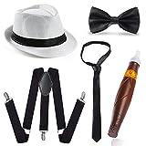 Beelittle 1920s Men Accessory Set Manhattan Hat, Y-Back Suspenders, Gangster Tie, Toy Fake Puff Cigar (E)