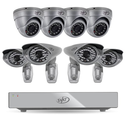 SVAT 8CH H.264 1 TB Smart Security DVR with 4 PRO/4 Dome Cameras and Smart Phone Compatibility