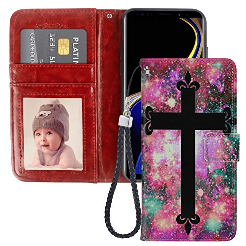 SoLucky Samsung Galaxy Note 9 Wallet Case Colorful Nebula Black Cross PU Leather with Kickstand and Card Slots, Wrist Strap Flip Case for Samsung Galaxy Note 9, 1 Pack ()
