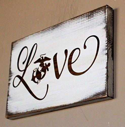 WOOD DECOR Marine Corps Love Sign, Rustic Love with EGA