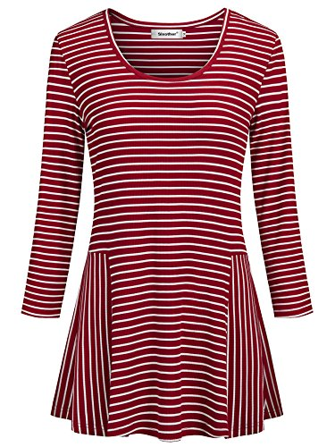(Sixother Business Casual Clothes for Women 3 4 Sleeve XL Red Sexy Club Party A Line Summer Shirts Womens Fall Winter Stretchy Empire Waist Woman's Top.)