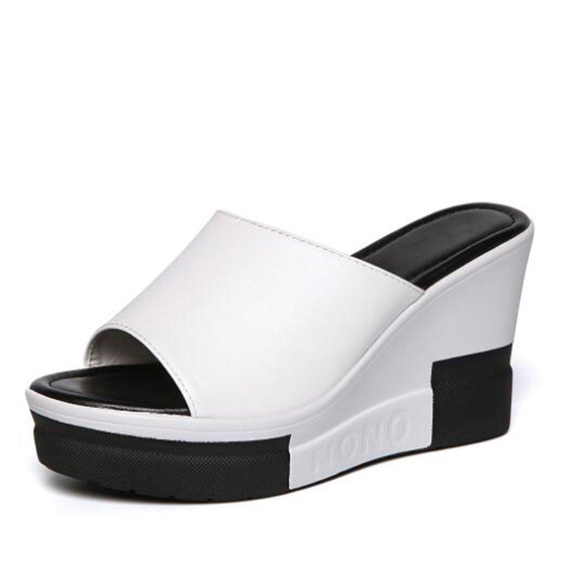 ZHONGST Damen Sommer Sandalen Wedges Sandalen  Hausschuhe Fashion Platform Sandalen  35 EU|White