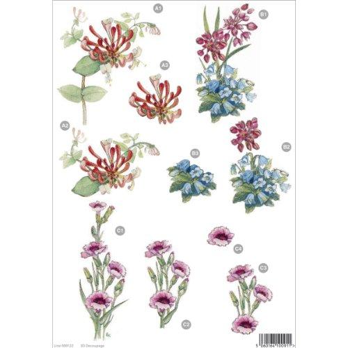 """3d Die-Cut Decoupage Sheet 8.3""""X11.69""""-Floral: Spike Flower, Blue Bell & Pinks"""