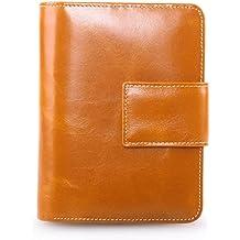 AINIMOER Women's Small Genuine Leather Bi-Fold Wallet Multi Card Organizer Pocket with Zipper