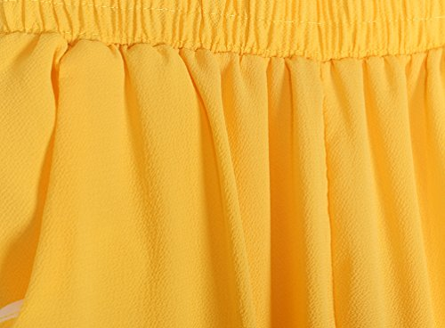 YuanDian Mujer Casual Color Sólido Tamaño Grande Gasa Cintura Elástica Harem Pantalones Talle Alto Ancho Nueve Puntos Delgado Harén Pantalon Amarillo