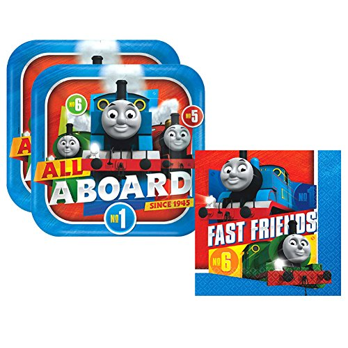Amscan Thomas the Tank Engine Party Pack for 16 Guests - 16 Dinner Plates and 16 Luncheon (Thomas The Train Birthday Supplies)