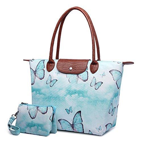 Crest Design Women's Stylish Waterproof Nylon Tote Handbag Travel Shoulder Beach Bag with Wristlet (Green Butterfly)