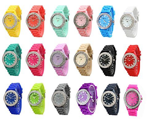 Women 12 Wholesale Assorted Crystal Rhinestone Large Face Watch Silicone Jelly Link Band