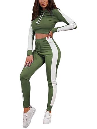 Minetom Femmes Jogging Yoga Gym Survêtement Manches Longues Rayure Crop Top  Sweat-Shirt à Manches a02df2d70b5